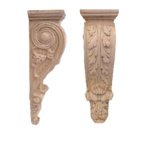 Ornamenty i kapitele z drewna, ręcznie rzeźbione